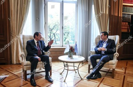 Alexis Tsipras, Nicos Anastasiadis Greece's Prime Minister Alexis Tsipras, right, meets Cypriot President Nicos Anastasiadis in Athens,. Anastasiadis is on a one-day working visit to Greece