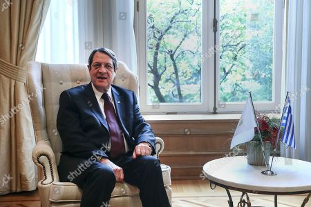 Cypriot President Nicos Anastasiadis looks on during a meeting with Greek Prime Minister Alexis Tsipras, in Athens,. Anastasiadis is on a one-day working visit to Greece