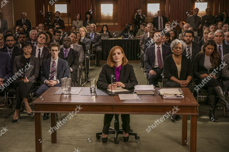 (Front row left to right) Grace Lynn Jung, Noah Robbins (Center at desk.) star, Jessica Chastain (Second row left to right.) Ennis Esmer, Douglas Smith, (Second row fourth to rightt.) Raoul Bhaneja and (Second row far right.) Sam Waterston