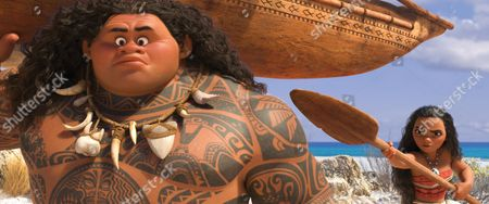Stock Picture of MOANA?S MISSION ? Maui (voice of Dwayne Johnson) may be a demigod?half god, half mortal, all awesome?but he?s no match for Moana (voice of Auli?i Cravalho), who?s determined to sail out on a daring mission to save her people. Moana's first challenge is convincing Maui to join her. Directed by Ron Clements and John Musker, produced by Osnat Shurer, and featuring music by Lin-Manuel Miranda, Mark Mancina and Opetaia Foa?i, ?Moana? sails into U.S. theaters on Nov. 23, 2016. ©2016 Disney. All Rights Reserved.
