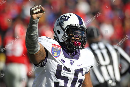 Memphis, Tennessee, U.S. - , TCU defensive tackle Chris Bradley (56) celebrating after making a third down stop in the AutoZone Liberty Bowl at Liberty Bowl Memorial Stadium in Memphis, Tennessee. ©Justin Manning/Eclipse Sportswire/Cal Sport Media