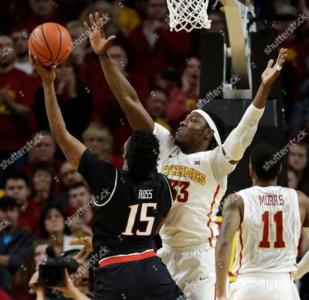 Solomon Young, Aaron Ross Iowa State forward Solomon Young, right, tries to block a shot by Texas Tech forward Aaron Ross (15) during the second half of an NCAA college basketball game, in Ames, Iowa. Iowa State won 63-56