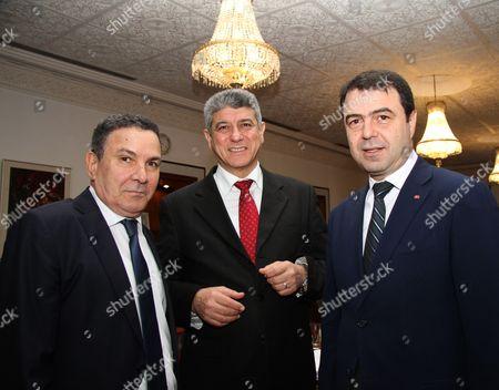 Tunisian Defence Minister Farhat Horchani (L), Interior minister Hedi Majdoub (R) and Justice Minister Ghazi Jeribi (C)