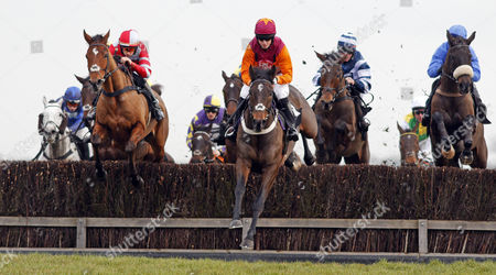 SIR IVAN (centre, Noel Fehily) leads SOME ARE LUCKY (left) and AQUA DUDE (right) Newbury