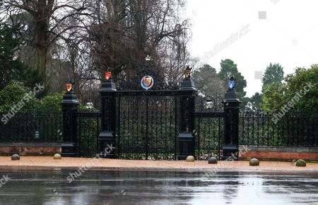 The main gates at Sandringham House remain closed as members of the royal family attended the St. Mary Magdalene Church Sunday morning service