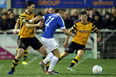 Sammy Moore of Dover tries to shake off a challenge from Maidstone's James Rogers during Maidstone United vs Dover Athletic, Vanarama National League Football at the Gallagher Stadium on 1st January 2017