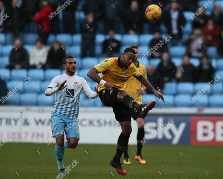 Liam Trotter of Bolton Wanderers and Marcus Tudgay of Coventry City during the Sky Bet League One match between Coventry City and Bolton Wanderers played at the Ricoh Arena, Coventry on 2nd January 2017