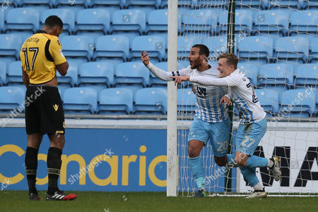 Marcus Tudgay of Coventry City celebrates scoring the 1st goal during the Sky Bet League One match between Coventry City and Bolton Wanderers played at the Ricoh Arena, Coventry on 2nd January 2017