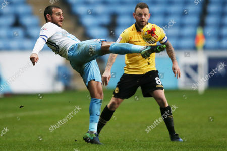 Marcus Tudgay of Coventry City and Jay Spearing of Bolton Wanderers during the Sky Bet League One match between Coventry City and Bolton Wanderers played at the Ricoh Arena, Coventry on 2nd January 2017