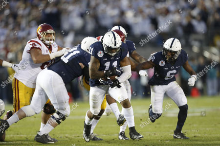 Penn State Nittany Lions linebacker Brandon Bell #11 intercepts a pass during the Rose Bowl game presented by Northwestern Mutual between the USC Trojans and the Penn State Nittany Lions at the Rose Bowl in Pasadena, California