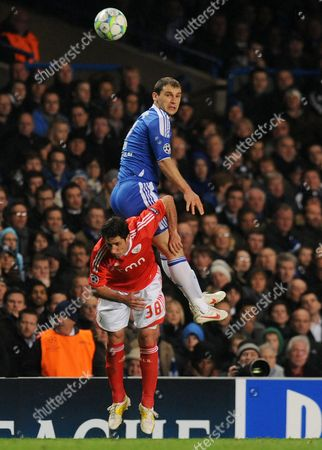 Chelsea's Branislav Ivanovic (r) Vies For the Ball with Benfica's Joan Capdevila (l) During Their Uefa Champions League Quarter-final Second Leg Soccer Match at Stamford Bridge in London Britain 04 April 2012 United Kingdom London