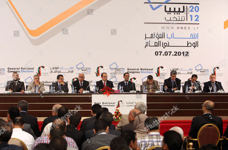 Chairman of Libya's National Electoral Commission Nouri Al-abbar (5-l) Speaks During a Press Conference in Tripoli Libya 17 July 2012 Media Reports State That the National Forces Alliance Led by Interim Prime Minister Mahmoud Jibril Has Won 39 out of the 80 Seats Reserved For Political Parties Libyan Arab Jamahiriya Tripoli