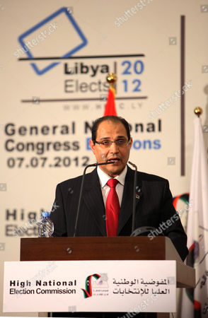 Chairman of Libya's National Electoral Commission Nouri Al-abbar Speaks During a Press Conference on Final Results in Tripoli Libya 17 July 2012 Media Reports State That the National Forces Alliance Led by Interim Prime Minister Mahmoud Jibril Has Won 39 out of the 80 Seats Reserved For Political Parties Libyan Arab Jamahiriya Tripoli