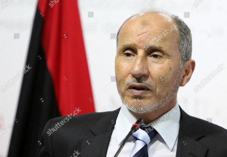 The Chairman of Libya's National Transitional Council (tnc) Mustafa Abdel Jalil Talks to Journalists During a Press Conference in Tripoli Libya 27 June 2012 Libyan Arab Jamahiriya Tripoli