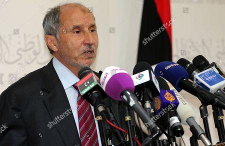 The Chairman of Libya's National Transitional Council Mustafa Abdul Jalil Speaks During a Press Conference in Tripoli Libya 22 May 2012 Libyan Arab Jamahiriya Tripoli