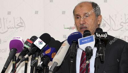 Stock Image of The Chairman of Libya's National Transitional Council Mustafa Abdul Jalil Speaks During a Press Conference in Tripoli Libya 22 May 2012 Libyan Arab Jamahiriya Tripoli
