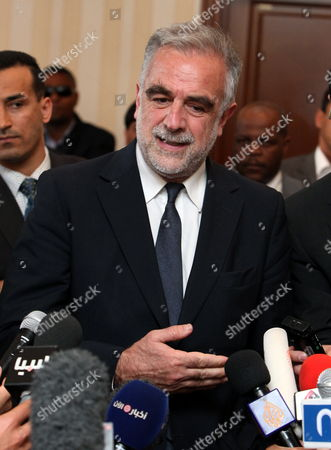 Chief Prosecutor of the International Criminal Court (icc) Luis Moreno Ocampo Speaks During a Press Conference with the Chairman of Libya's National Transitional Council Mustafa Abdul Jalil (not Pictured) in Tripoli Libya 18 April 2012 Media Reports State That Ocampo Arrived in Tripoli on 18 April For Talks on the Disputed Trial of Saif Al-islam the Son of Libya's Former Leader Muammar Gaddafi Gaddafi the Hague-based Court and Libya's New Leadership Are Locked in a Row Over where the 39-year-old Would Be Put on Trial on Charges of Crimes Against Humanity Libyan Arab Jamahiriya Tripoli