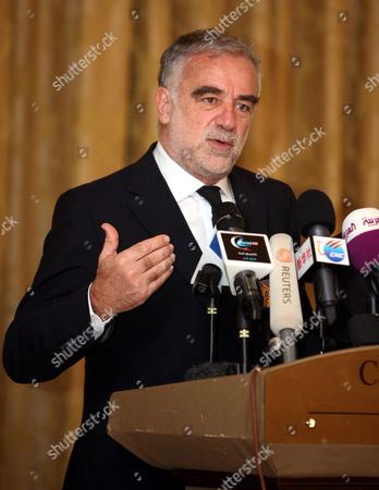 Stock Photo of Chief Prosecutor of the International Criminal Court (icc) Luis Moreno Ocampo Speaks During a Press Conference in Tripoli Libya 21 April 2012 Media Reports State That - the Chief Prosecutor of the International Criminal Court (icc) Arrived in Tripoli on 18 April 2012 For Talks on the Disputed Trial of Saif Al-islam the Son of Libya's Former Leader Moamer Gaddafi Sources Said the Hague-based Court and Libya's New Leadership Are Locked in a Row Over where the 39-year-old Would Be Put on Trial on Charges of Crimes Against Humanity Libyan Arab Jamahiriya Tripoli