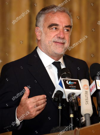 Chief Prosecutor of the International Criminal Court (icc) Luis Moreno Ocampo Speaks During a Press Conference in Tripoli Libya 21 April 2012 Media Reports State That - the Chief Prosecutor of the International Criminal Court (icc) Arrived in Tripoli on 18 April 2012 For Talks on the Disputed Trial of Saif Al-islam the Son of Libya's Former Leader Moamer Gaddafi Sources Said the Hague-based Court and Libya's New Leadership Are Locked in a Row Over where the 39-year-old Would Be Put on Trial on Charges of Crimes Against Humanity Libyan Arab Jamahiriya Tripoli