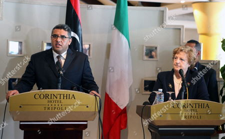Libyan Interior Minister Fawzi Abdelali (l) Speaks During a Press Conference with His Italian Counterpart Anna Maria Cancellieri (r) Following Their Meeting in Tripoli Libya 03 April 2012 Media Reports State Cancellieri Arrived in Tripoli For Talks with Libyan Officials That Will Focus on Migration Issues and Cooperation in the Field According to the Un Refugee Agency Unhcr Figures Some 60 Thousand Migrants Landed in Italy Last Year Most of Them Arriving From Libya Libyan Arab Jamahiriya Tripoli