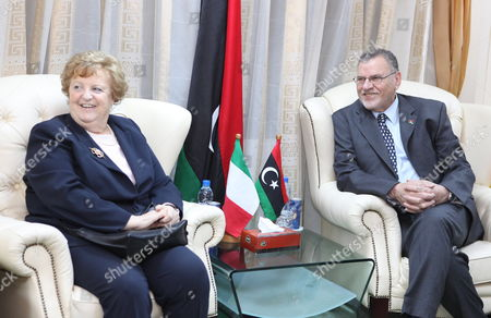 Libyan Foreign Minister Ashur Bin Khayyal (r) Meets with Italian Interior Minister Anna Maria Cancellieri (l) in Tripoli Libya 03 April 2012 Media Reports State Cancellieri Arrived in Tripoli For Talks with Libyan Officials That Will Focus on Migration Issues and Cooperation in the Field According to the Un Refugee Agency Unhcr Figures Some 60 Thousand Migrants Landed in Italy Last Year Most of Them Arriving From Libya Libyan Arab Jamahiriya Tripoli