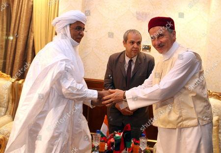 Chairman of Libya's National Transitional Council (ntc) Mustafa Abdul Jalil (r) Shakes Hands with Niger Prime Minister Brigi Rafini (l) in Tripoli Libya 04 May 2012 Libyan Arab Jamahiriya Tripoli