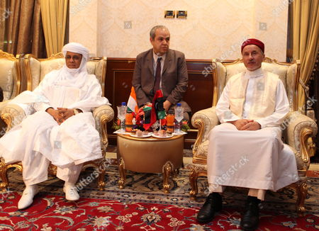 Chairman of Libya's National Transitional Council (ntc) Mustafa Abdul Jalil (r) Meets with Niger Prime Minister Brigi Rafini (l) in Tripoli Libya 04 May 2012 Libyan Arab Jamahiriya Tripoli