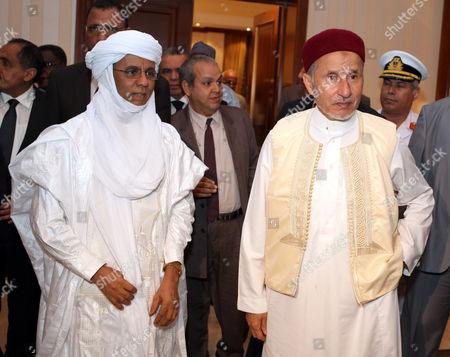 Niger Prime Minister Brigi Rafini (l) with Chairman of Libya's National Transitional Council (ntc) Mustafa Abdul Jalil (r) in Tripoli Libya 04 May 2012 Libyan Arab Jamahiriya Tripoli
