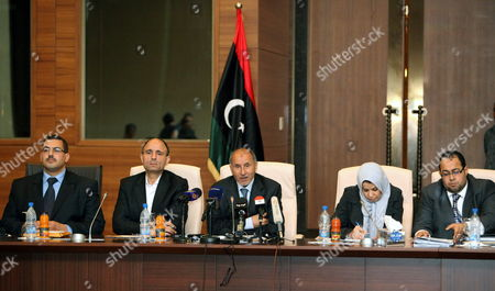Chairman of Libya's National Transitional Council (ntc) Mustafa Abdul Jalil (c) Speaks During a Press Conference at the End of the Weekly Meeting of the Ntc in Tripoli Libya 02 May 2012 Libyan Arab Jamahiriya Tripoli