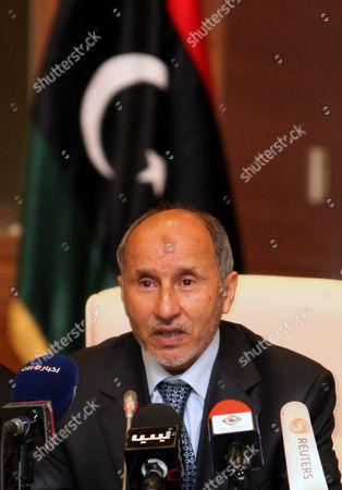 Chairman of Libya's National Transitional Council (ntc) Mustafa Abdul Jalil Speaks During a Press Conference at the End of the Weekly Meeting of the Ntc in Tripoli Libya 02 May 2012 Libyan Arab Jamahiriya Tripoli