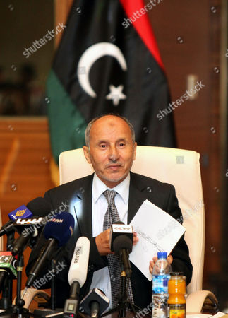 The Chairman of Libya's National Transitional Council (ntc) Mustafa Abdel Jalil Speaks During a Press Conference in Tripoli Libya 11 July 2012 Abdel Jalil Said the Ntc Which Ruled the Country Since the Ousting of Former Leader Muammar Gaddafi Will Be Dissolved After the Newly Elected Parliament Convenes Libyan Arab Jamahiriya Tripoli