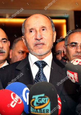 Libya's National Transitional Council (tnc) Chairman Mustafa Abdel Jalil Speaks During a Joint Press Conference with Turkish Foreign Trade Minister Zafer Caglayan (not Pictured) in Tripoli Libya 10 June 2012 According to Media Reports Caglayan Arrived in Libya on 10 June to Inaugurate Several Buildings Which Were Constructed Or Repaired by Turkish Contractors Libyan Arab Jamahiriya Tripoli