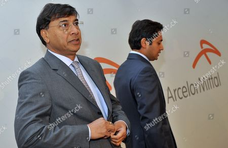 Lakshmi Mittal (l) Ceo of Arcelormittal and Aditya Mittal (r) Cfo Arrive to the Company's Shareholder Meeting in Luxembourg 08 May 2012 Luxembourg Luxembourg