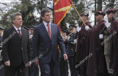 Albanian President Bamir Topi (c) Accompanied by His Macedonian Counterpart Gjorge Ivanov (l) Review the Honour Guard in the Skopje the Former Yugoslav Republic of Macedonia 19 April 2012 President Bamir Topi Arrived For a Two-day Official Visit to Macedonia Macedonia, the Former Yugoslav Republic of Skopje