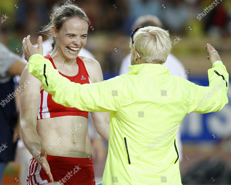 Silke Spiegelburg (l) From Germany is Congratulated by Martina Strutz From Germany After the Women's Pole Vault Event During the Iaaf Herculis Meeting at the Louis Ii Stadium in Monaco 20 July 2012 Monaco Monaco