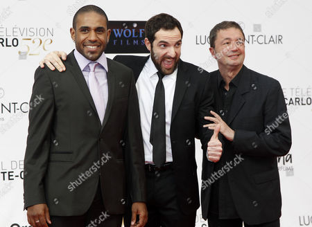 Loup-denis Elion David Mora and Frederic Bouraly Actors of the French Tv Series 'Scenes De Menages' Pose During the Opening Ceremony of the Monte-carlo Television Festival in Monte-carlo 10 June 2012 Monaco Monte Carlo