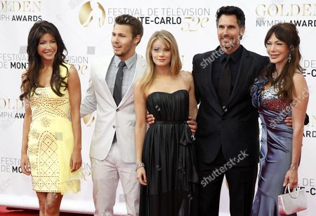 (l-r) the Cast of the Tv Series 'The Bold and the Beautiful' Jacqueline Macinnes Wood Scott Clifton Kim Matula Don Diamont and Hunter Tylo Pose During the Closing Ceremony of the Monte Carlo Television Festival in Monaco 14 June 2012 Monaco Monte Carlo