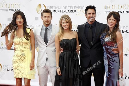 Stock Photo of (l-r) the Cast of the Tv Series 'The Bold and the Beautiful' Jacqueline Macinnes Wood Scott Clifton Kim Matula Don Diamont and Hunter Tylo Pose During the Closing Ceremony of the Monte Carlo Television Festival in Monaco 14 June 2012 Monaco Monte Carlo