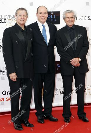 French Actor Francis Huster (l) Prince Albert Ii of Monaco (c) and French Film Director Claude Lelouch (r) Pose During the Opening Ceremony of the Monte Carlo Television Festival in Monaco 10 June 2012 Monaco Monte Carlo