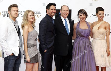 (l-r) Actors of Film 'Cast Bold and Beautiful' Scott Clifton Kim Matula Don Diamont Hunter Tylo and Jacqueline Mac Innes Wood Pose with Prince Albert Ii of Monaco (c) During the Opening Ceremony of the Monte Carlo Television Festival in Monaco 10 June 2012 Monaco Monte Carlo