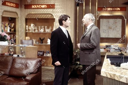 'Crossroads'   TV   Series 1 Graham Seed and Frank Middlemass in the Motel Reception.