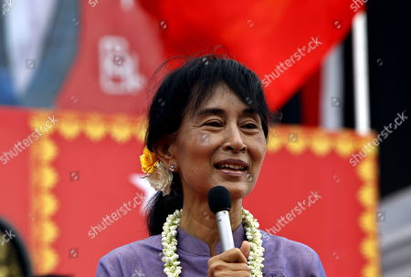 Myanmar's Opposition Leader Aung San Suu Kyi Talks to Supporters During the Opening Ceremony of the National League For Democracy (nld) Party Insein Township Branch Yangon Myanmar 21 May 2012 Aung San Suu Kyi is to Hold Her Nobel Peace Prize Address 21 Years After Winning the Award the Director of the Nobel Institute Told Dpa on 21 May Suu Kyi is to Arrive in the Norwegian Capial Oslo on June 15 and Will Deliver Her Speech the Day After Geir Lundestad Said the 66-year-old Opposition Leader was Unable to Travel to Oslo to Accept the Prize in Person in December 1991 Because the Military Junta in Myanmar was Holding Her Under House Arrest Myanmar Yangon