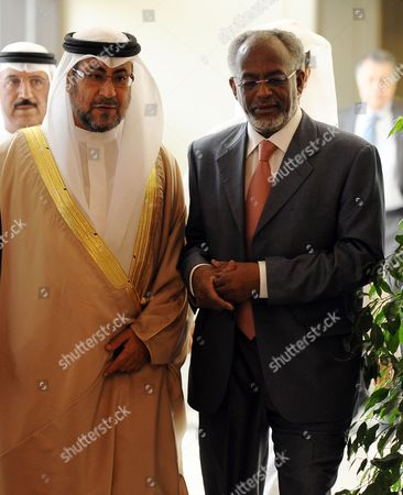 Sudanese Foreign Minister Ali Karti (r) Arrives to Attend the Meeting of Arab Ministerial Committee on Syria in Doha Qatar 02 June 2012 Alarabi Said on 02 June That He Has Sent a Letter to the Un Security Council Urging It to Take 'All Necessary Measures to Protect the Syrian People' Qatar Doha