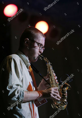 British Soprano & Tenor Saxophone Player Jack Wyllie Performs on the Main Stage with the Portico Quartet Band During the 16th Edition of Garana Jazz Festival 2012 in Garana Village (wolfsberg) Romania Late 13 July 2012 Garana Jazz Festival Takes Place Annually in the Wild Surroundings of Semenic Mountain Foot Western Romania the Festival Runs Until 15 July Romania Garina