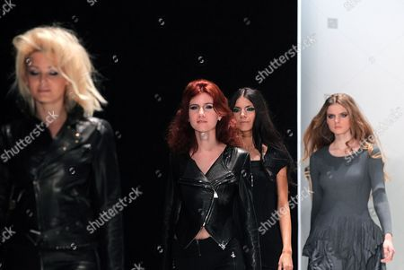 Former Russian Spy Anna Chapman (2-l) Displays a Creation by French Designers Group i Love Fashion During the Mercedes-benz Fashion Week in Moscow Russia 22 March 2012 the Fashion Week Runs From 21 to 25 March Russian Federation Moscow
