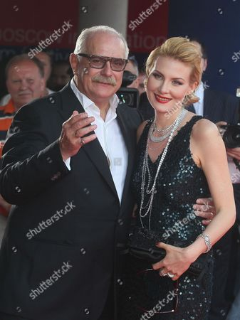President of the 34th Moscow Film Festival Nikita Mikhalkov (l) Poses For Pictures with Russian Actress Renata Litvinova (r) As They Arrive For the Opening Ceremony of the 34th Moscow Film Festival at 'Oktyabr' Concert Hall in Moscow Russia 21 June 2012 the Festival Runs From 21 to 30 June Russian Federation Moscow