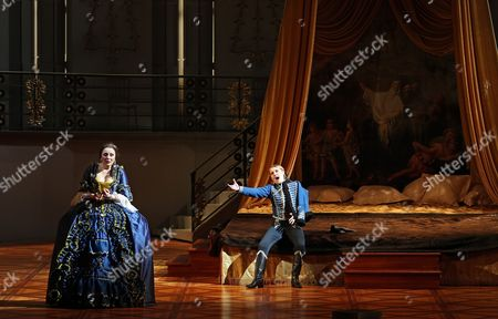 German Soprano Melanie Diener (l) and Mezzo-soprano Anna Stephany Perform During a Dress Rehearsal of the Opera in Three Acts 'Der Rosenkavalier (the Knight of the Rose)' of Richard Strauss in the Bolshoi Theater in Moscow Russia 01 April 2012 a Premiere of the Opera of the Stage Director Stephen Lawless is to Be Held on 03 April 2012 Russian Federation Moscow