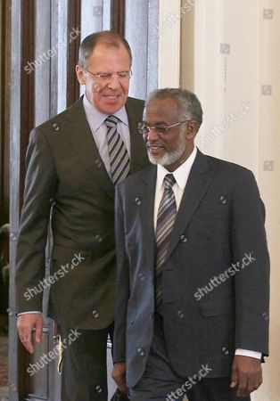 Russian Foreign Minister Sergei Lavrov (l) Enters the Hall with Sudanese Foreign Minister Ali Karti (r) During Their Meeting in Moscow Russia 30 April 2012 Reports State That the Two Ministers Will Discuss Russian-sudanese Relations and the Current Situation on the Border Between Sudan and South Sudan Russian Federation Moscow