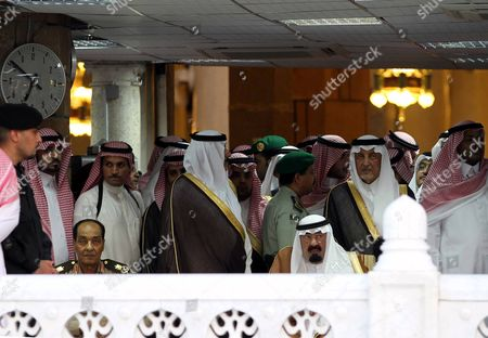 Saudi Arabia's King Abdullah Bin Abdul Aziz (front-r) and the Head of the Egyptian Ruling Military Council Mohamed Hussein Tantaw (front-l) Attend the Funeral of the Late Crown Prince Deputy Prime Minister and Interior Minister Naif Bin Abdul Aziz at the Haram El-sharif Great Mosque in the Holy City of Mecca Saudi Arabia 17 June 2012 Saudi Arabia on 17 June Buried Its Heir Apparent Naif Bin Abdul Aziz Following a Funeral Attended by Mourning Presidents and Premiers From Several Countries Naif's Body Shrouded in an Open Coffin was Carried Into the Grand Mosque in the Holy City of Mecca where a Special Funeral Prayer was Held His Body was Later Buried in a Tomb in Mecca in Western Saudi Arabia Saudi Arabia Mecca