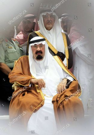 Saudi Arabia's King Abdullah Bin Abdul Aziz (c) Looks on During the Funeral of the Late Crown Prince Deputy Prime Minister and Interior Minister Naif Bin Abdul Aziz at the Haram El-sharif Great Mosque in the Holy City of Mecca Saudi Arabia 17 June 2012 Saudi Arabia on 17 June Buried Its Heir Apparent Naif Bin Abdul Aziz Following a Funeral Attended by Mourning Presidents and Premiers From Several Countries Naif's Body Shrouded in an Open Coffin was Carried Into the Grand Mosque in the Holy City of Mecca where a Special Funeral Prayer was Held His Body was Later Buried in a Tomb in Mecca in Western Saudi Arabia Saudi Arabia Mecca